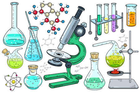 Vector illustration. Laboratory equipment. Microscope and beakers for a chemistry and biology lesson on a white background.
