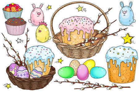 Vector set of festive Easter icons. Baskets with cakes, Easter eggs and a willow branch on a white background.