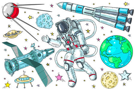 Vector set of icons on the theme of space. Astronaut in space, rockets and planets with satellites on a white background.