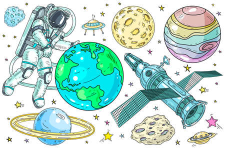 Vector illustration. Set of space and planet icons. An astronaut takes care of the planet Earth. Ilustração