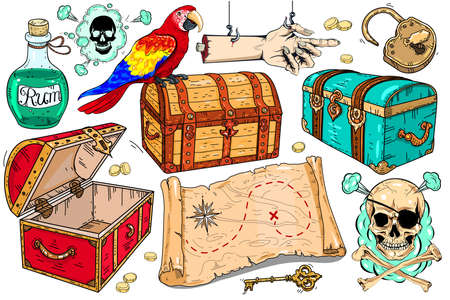Vector set of icons on the theme of pirates. Treasure map, different chests, skull and parrot.