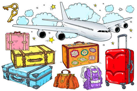 Vector set of suitcases, suitcase with stickers. The plane is flying in the clouds on a white background. Design for web, site, advertising, banner and print.