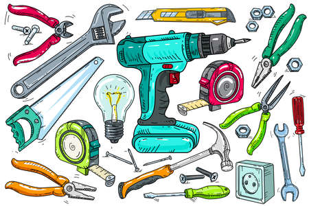 A set of vector isolated color icons for working tools. Ilustração