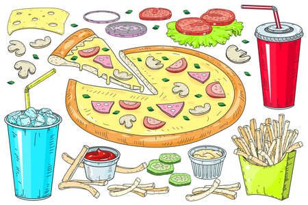 Vector image of creative pizzas. A slice of pizza for the design of advertising for your restaurant and cafe.