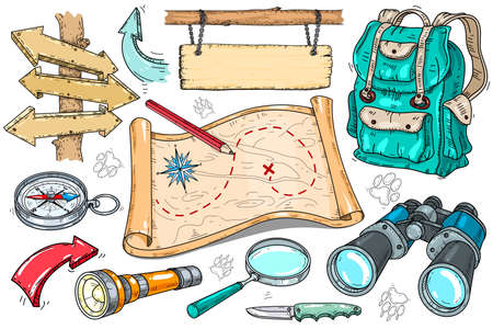 Vector set of icons for the tourist. Hiking tools, a backpack, and a map. Binoculars, magnifying glass and wooden pointers on a white background.