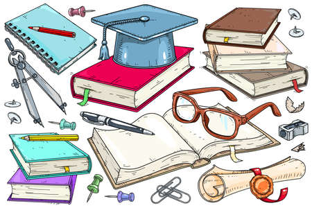 Vector illustration set of icons for the student. An open book, glasses, and a student diploma. School supplies, notebooks and books.