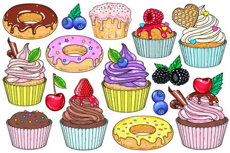 Vector illustration. Set of sweet desserts. Cakes, cupcakes, and doughnuts. Ilustração