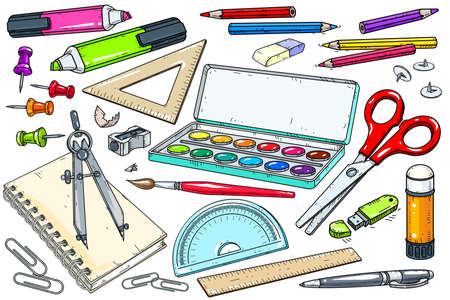 Vector illustration, a set of icons for various office supplies. School supplies, paints, scissors and various markers on a white background.