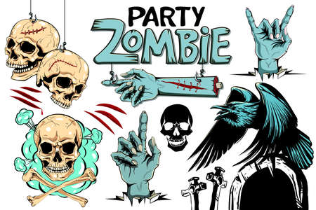 Vector evil human skull. Vector illustration, set for Halloween. Zombie party. 向量圖像