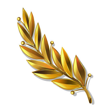 Vector illustration. Gold laurel wreath award. Represents a victory, achievement or success. Isolated on a white background. Ornate sign of success with golden leaves.