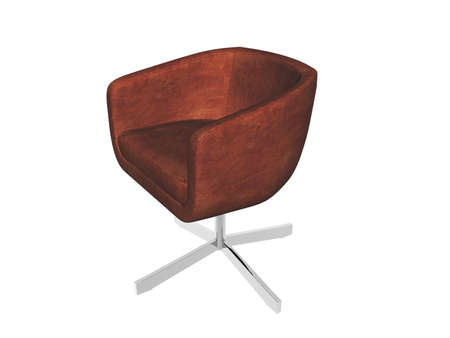 brown upholstered armchair with metal feet