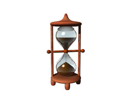 Hourglass with glass bulb and wooden frame Imagens