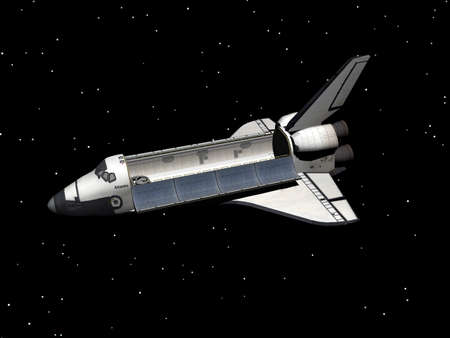 space shuttle hovers in space