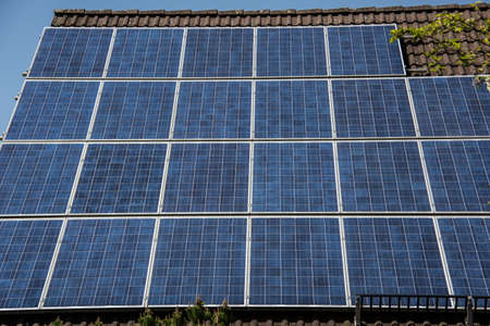 Solar cells for photovoltaics on roof Foto de archivo