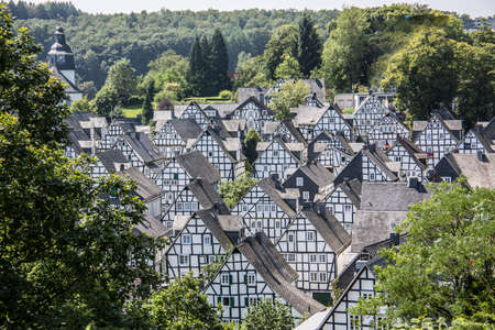 Half-timbered houses in the old town of Freudenberg Banque d'images