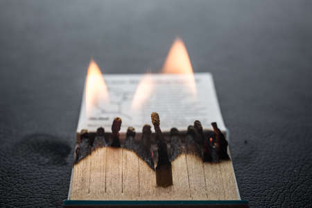 Matchstick letter with matches and flame