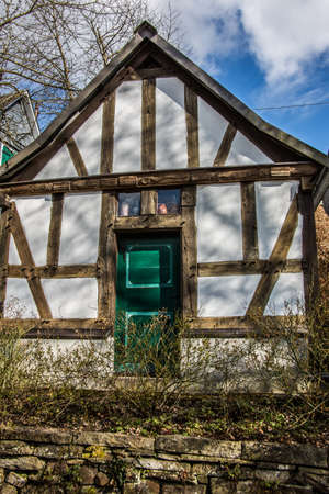 old half-timbered house made of wooden beams and clay