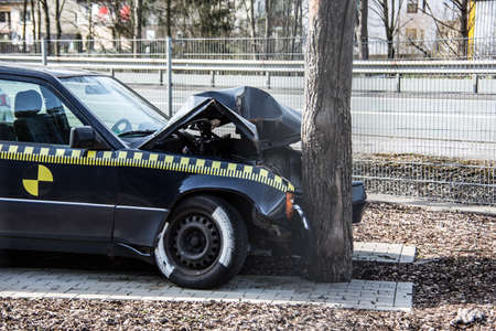 Car drives head-on against tree