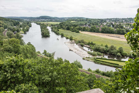 Ruhr valley in Witten with river course
