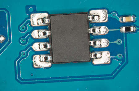 electronic circuits in blue and green Banque d'images
