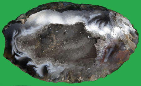 Crystal geode with sparkling crystals of rock crystal