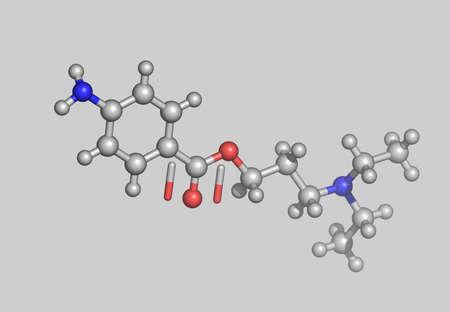 Novocaine molecular model with atoms