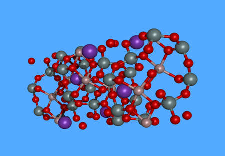 Muscovite molecular model with atoms Banco de Imagens