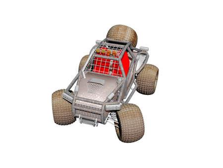 Four-wheel drive beach vehicle with roll bar