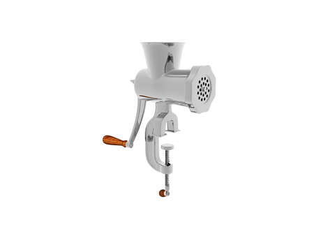 silver metallic meat grinder with crank