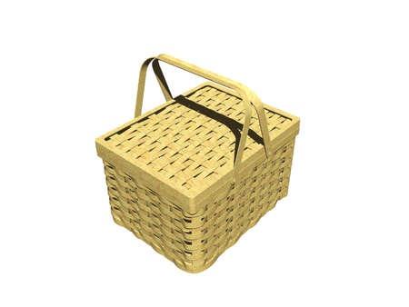 Wicker basket with lids on both sides for a picnic