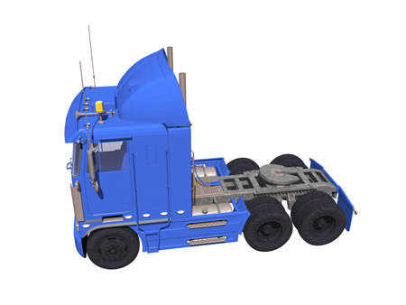 blue truck as a tractor Stock Photo
