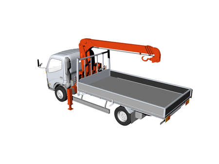 Truck with loading area and lifting crane