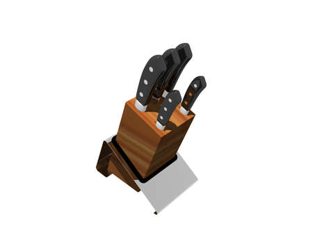 wooden knife block in the kitchen