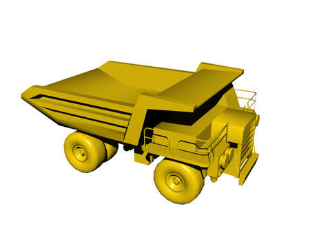 yellow dump truck in the quarry Stock Photo