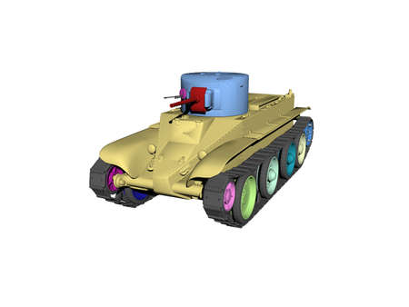 old colorful tank with turret