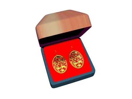 golden earrings in a box