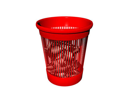 red cylindrical plastic trash can