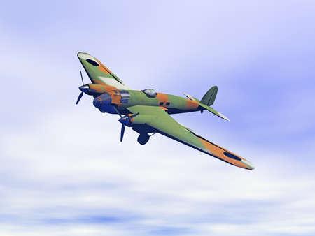 military propeller plane in the sky