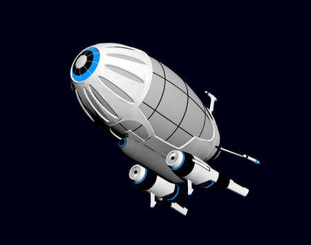 futuristic zeppelin in the air Stock Photo