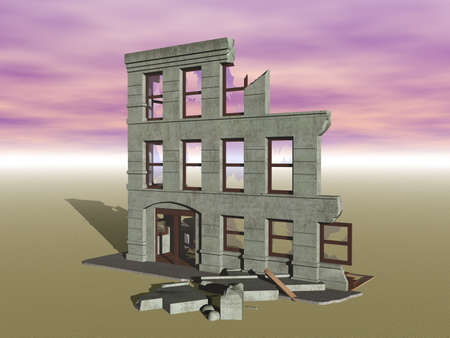 sunken ruin of a multi-story house