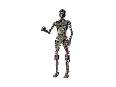 big heavy metallic humanoid robot Stock Photo