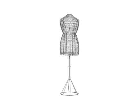 Dress form on wire on a stand