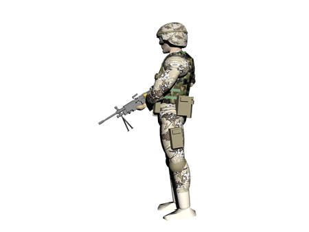 Soldier with camouflage helmet and weapon