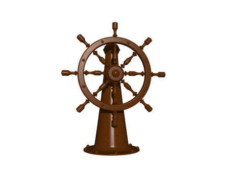 nautical steering wheel on a ship Banque d'images