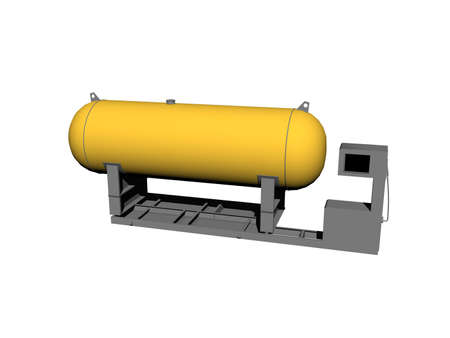 yellow steel tank for fuel on rack