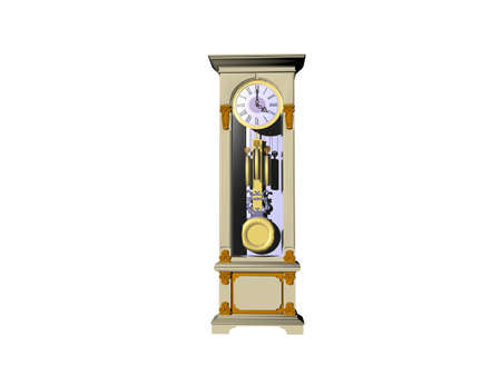 wooden grandfather clock with glass pane and pendulum