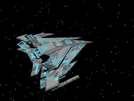 triangular armed spaceship in space