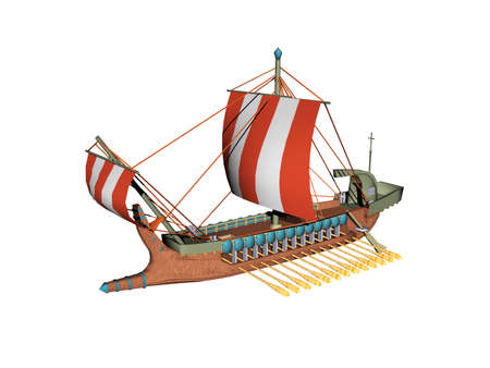 wooden Wickinger galley ship with striped sails