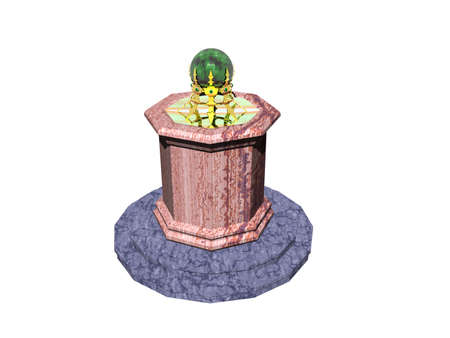 noble stone base with golden stand and green glass ball