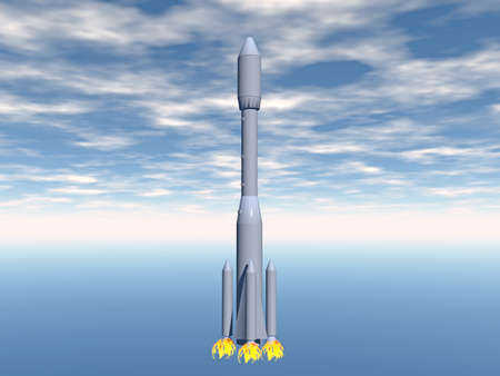 Rocket with additional boosters takes off Stock Photo